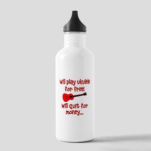 funny red ukulele Water Bottle