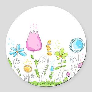 Spring Flowers Round Car Magnet
