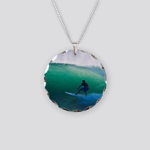 Surfing The Tube Necklace Circle Charm