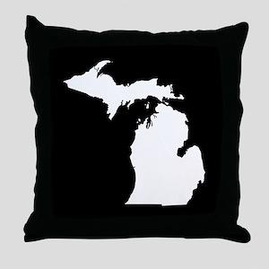 michigan white black Throw Pillow