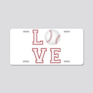 Love Baseball Aluminum License Plate