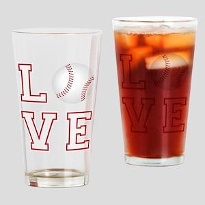 Love Baseball Drinking Glass