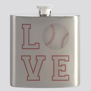 Love Baseball Flask