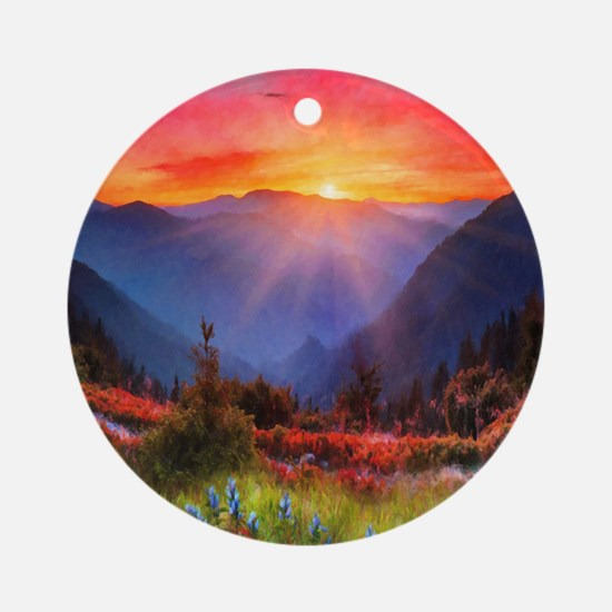 High Country Sunset Round Ornament