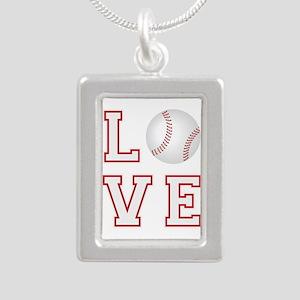 Love Baseball Silver Portrait Necklace