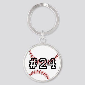 Baseball with Custom Number Keychains