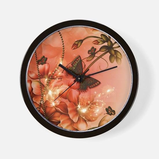 Wonderful flowers with butterflies Wall Clock