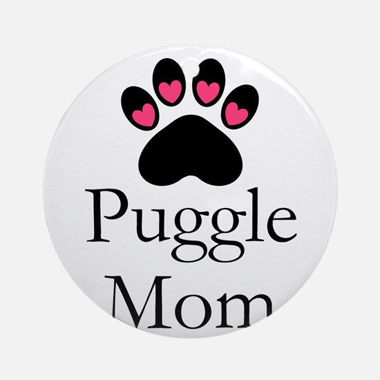 Puggle Dog Mom Paw Print Round Ornament