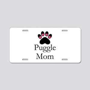 Puggle Dog Mom Paw Print Aluminum License Plate