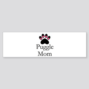 Puggle Dog Mom Paw Print Bumper Sticker