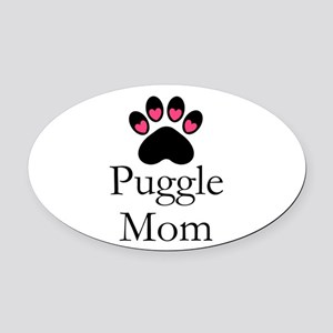 Puggle Dog Mom Paw Print Oval Car Magnet