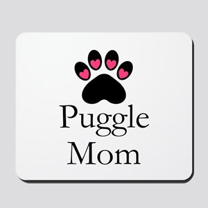 Puggle Dog Mom Paw Print Mousepad