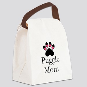 Puggle Dog Mom Paw Print Canvas Lunch Bag