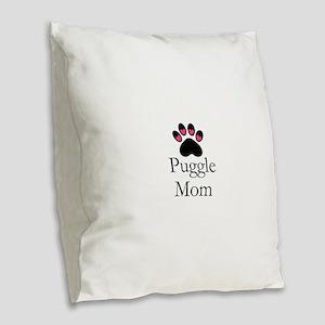 Puggle Dog Mom Paw Print Burlap Throw Pillow