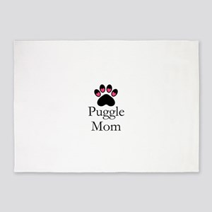 Puggle Dog Mom Paw Print 5'x7'Area Rug