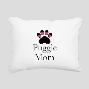 Puggle Dog Mom Paw Print Rectangular Canvas Pillow