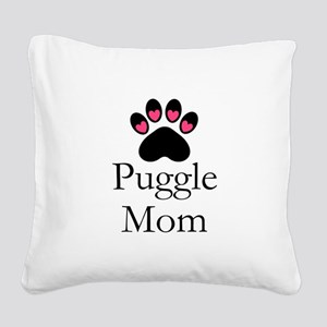 Puggle Dog Mom Paw Print Square Canvas Pillow