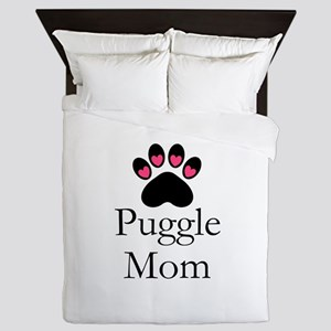 Puggle Dog Mom Paw Print Queen Duvet