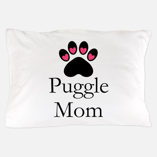 Puggle Dog Mom Paw Print Pillow Case