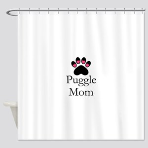 Puggle Dog Mom Paw Print Shower Curtain