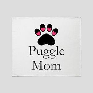 Puggle Dog Mom Paw Print Throw Blanket