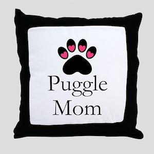 Puggle Dog Mom Paw Print Throw Pillow