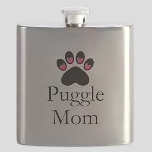 Puggle Dog Mom Paw Print Flask
