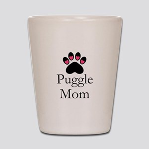 Puggle Dog Mom Paw Print Shot Glass