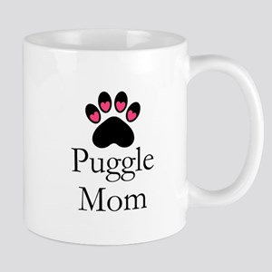 Puggle Dog Mom Paw Print Mugs