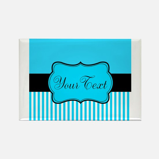 Personalizable Teal White Black Magnets