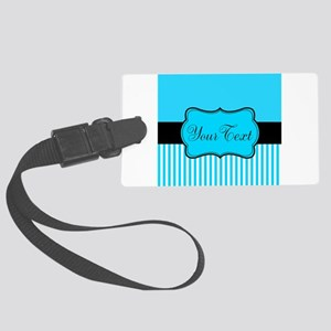Personalizable Teal White Black Luggage Tag