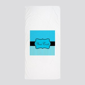 Personalizable Teal White Black Beach Towel
