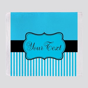 Personalizable Teal White Black Throw Blanket