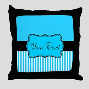 Personalizable Teal White Black Throw Pillow
