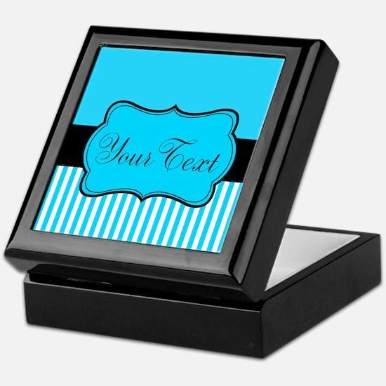 Personalizable Teal White Black Keepsake Box