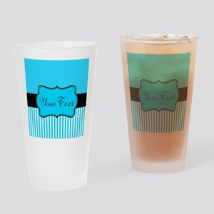 Personalizable Teal White Black Drinking Glass