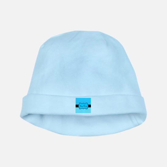 Personalizable Teal White Black baby hat