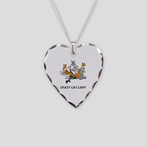 Crazy Cat Lady Necklace Heart Charm