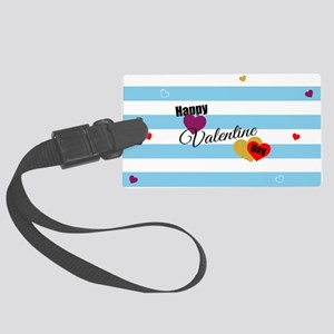 Cute Happy Valentine Day (Blue) Large Luggage Tag
