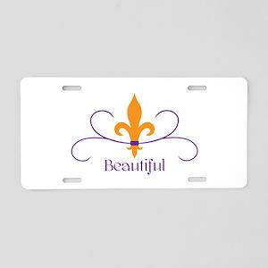 Beautiful Fleur Aluminum License Plate
