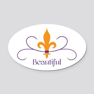 Beautiful Fleur Oval Car Magnet