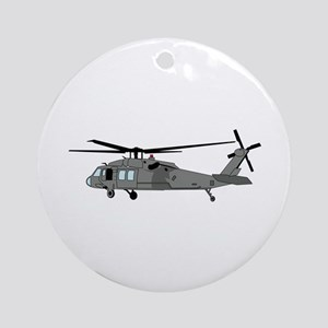 Black Hawk Helicopter Round Ornament