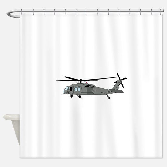 Black Hawk Helicopter Shower Curtain