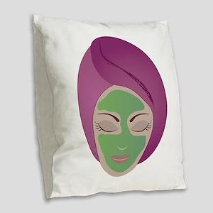Facial Burlap Throw Pillow