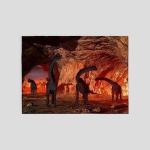 Brachiosaurus disappear in a cave 5'x7'Area Rug