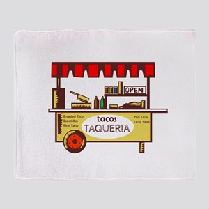 Taco Stand Taqueria Stand Woodcut Throw Blanket