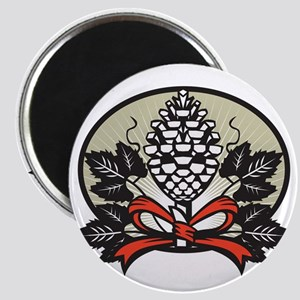 Thyrsus Pine Cone Staff Leaves Oval Retro Magnets
