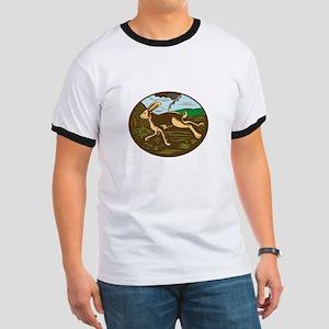 Wild Hare Rabbit Running Oval Woodcut T-Shirt