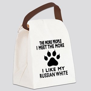 I Like My Russian White Cat Canvas Lunch Bag