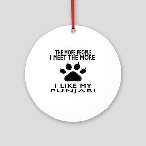 I Like My Punjabi Cat Round Ornament